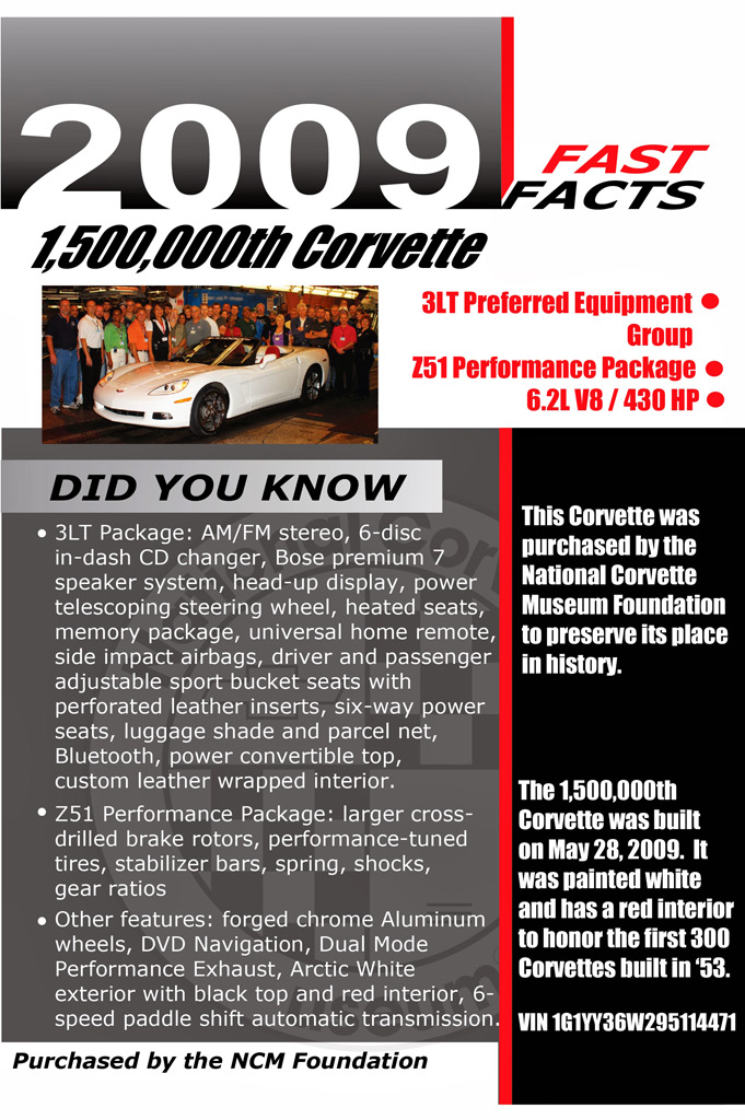 1,500,000th Chevrolet Corvette display placard at the National Corvette Museum