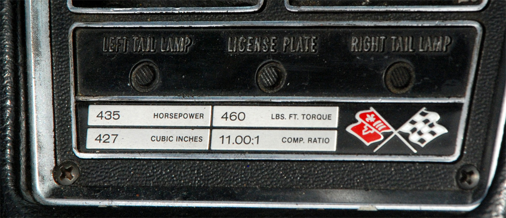 1969 Chevrolet Corvette L71 Engine Statistics Plaque