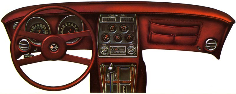 1976 Chevrolet Corvette Dashboard Brochure Illustration