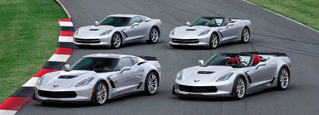 2015 Chevrolet Corvette lineup: (front) Z06 coupe and convertible; (rear) standard coupe and convertible