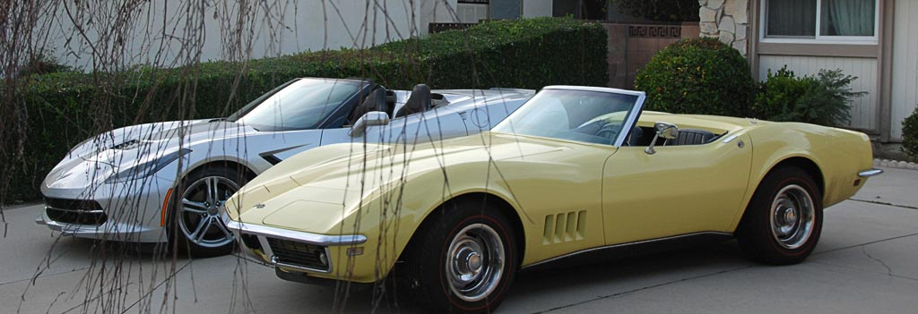 1968 Corvette C3 in Safari Yellow with 2016 Corvette C7 in Blade Silver Metallic