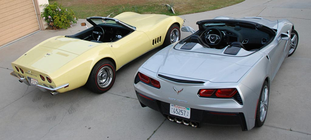 2016 Corvette C7 in Blade Silver Metallic with 1968 Corvette C3 in Safari Yellow