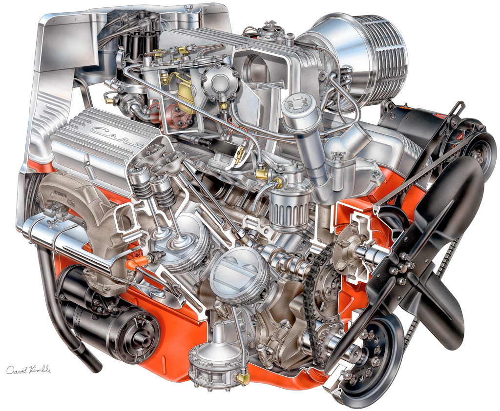 1957 Chevrolet Corvette Fuel Injection - Cutaway drawing by David Kimble