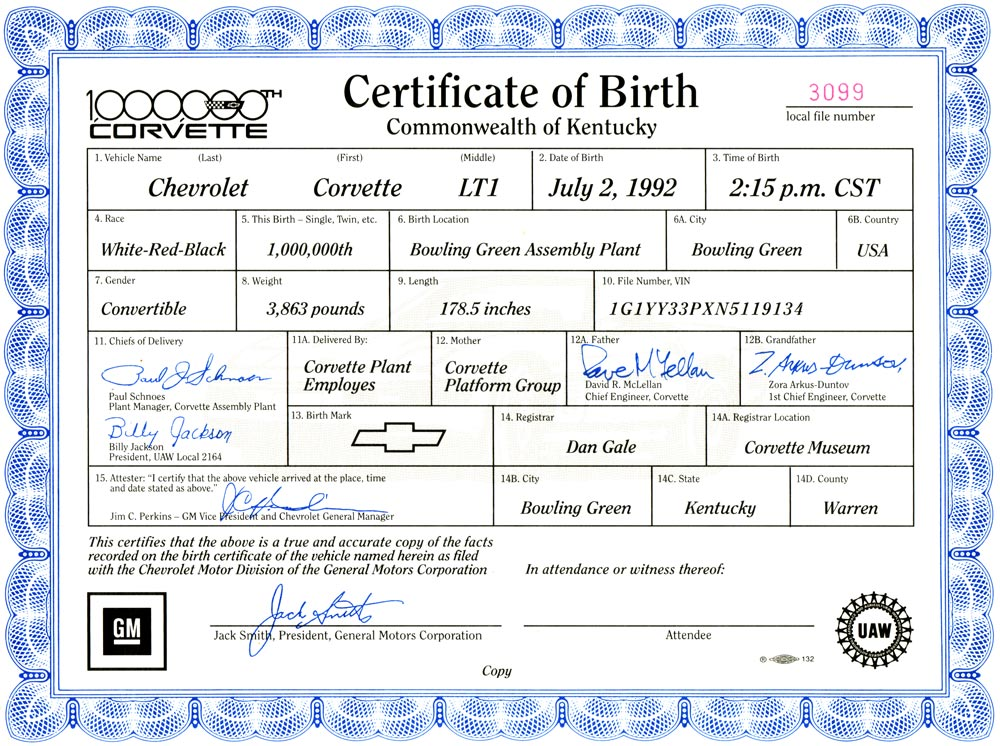 1,000,000th Corvette birth certificate