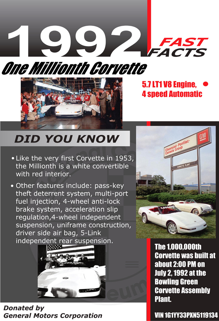 1,000,000th Chevrolet Corvette display placard at the National Corvette Museum